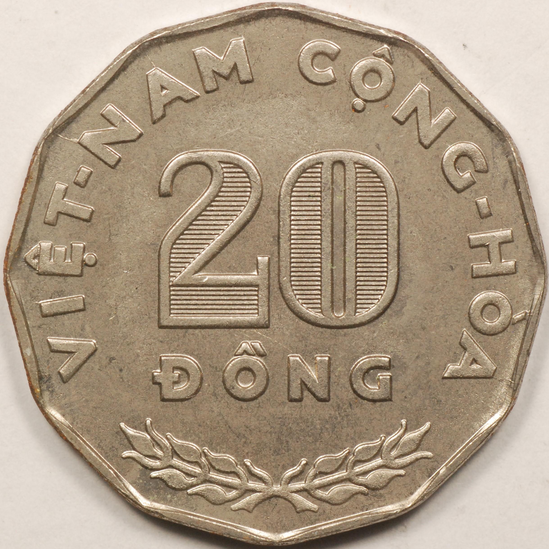 Ngo Dihn Diem Rice stalks South Viet Nam 1960-1 Dong Copper-Nickel Coin