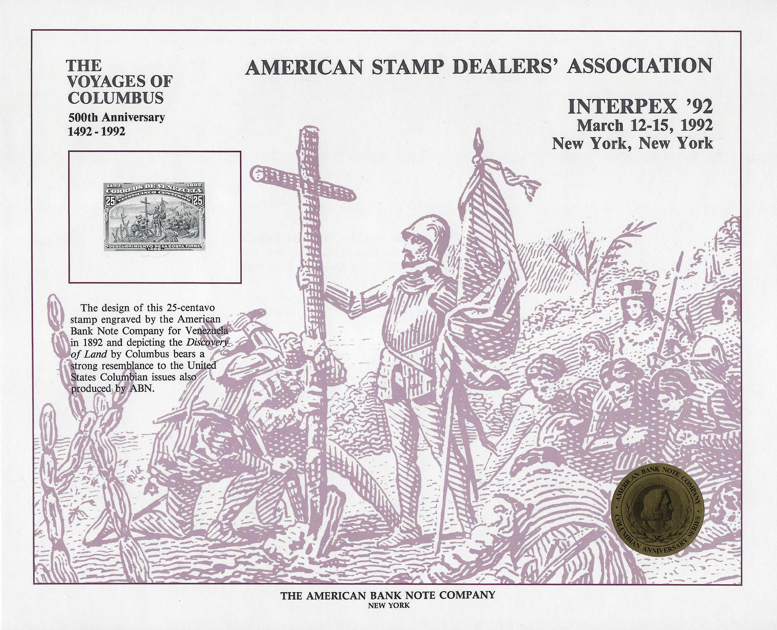 "Columbus/' /""Discovery of Land/"" ASDA /'92 Stmp U.S.A Souvenir Card #SO-087"